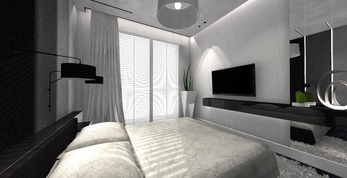 dekorator_wnetrz_projektant_pulawy_pracownia_projektowania_wnetrz_sypialnia_bedroom_monokolor_panele_tapicerowane_listwy_LED_design_czarno_biale_black_and_white (6)