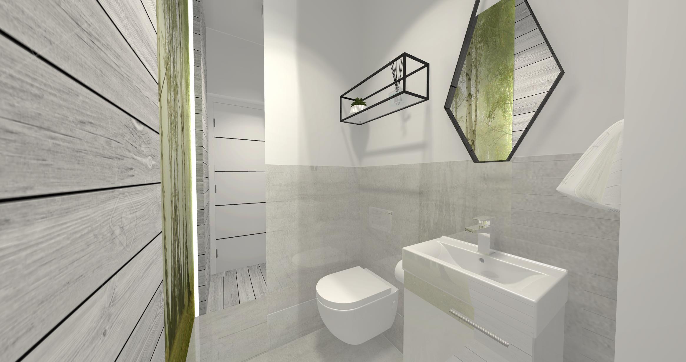 7, 8. Parter - łazienka - lustro wklejane oraz lustro w ramie metalowej