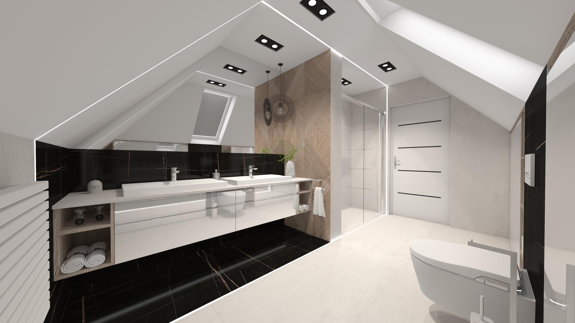 projektant pulawy pracownia projektowania wnetrz malgorzata czapla lazienka poddasze biel drewno minimalist interior designer wnetrza projektowanie pulawy 2